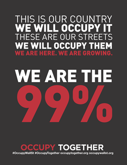 This is our country. We will occupy it. We will occupy them. We are here. We are growing. We are the 99%