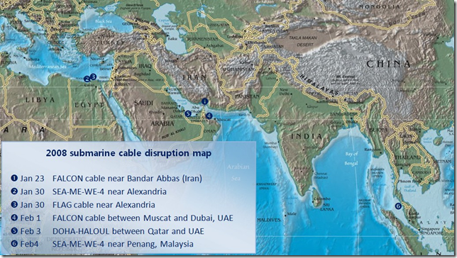 2008 submarine cable disruption map