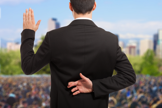 Politician with fingers crossed behind his back, hidden from view